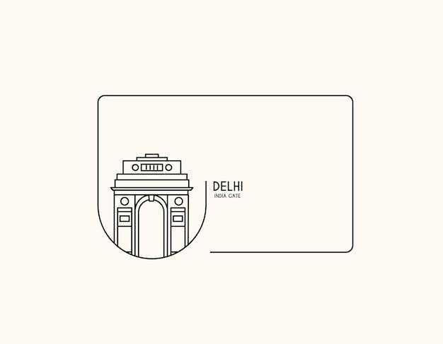 India gate at new delhi. 1920s triumphal arch and war memorial. line art vector illustration.