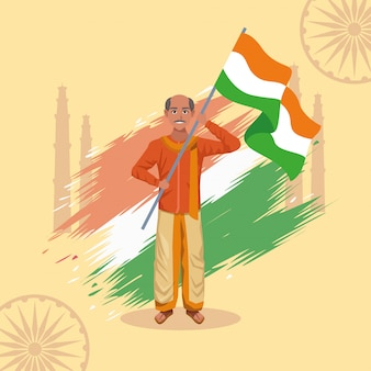 India happy independence day celebration card with man and flag