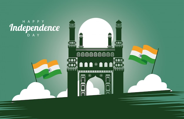 India happy independence day celebration card with mosque and flag