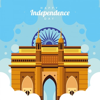 India happy independence day celebration card with mosque temple