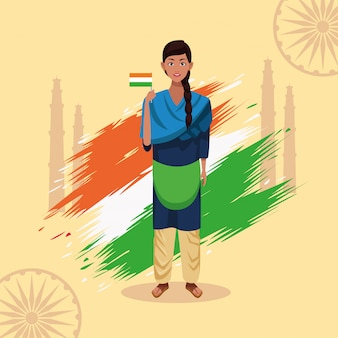 India happy independence day celebration card with woman and flag