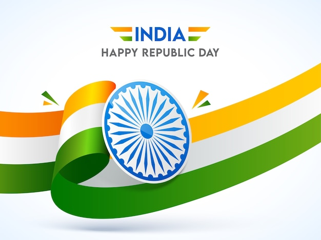 India happy republic day poster  with ashoka wheel and wavy tricolor ribbon on white background.