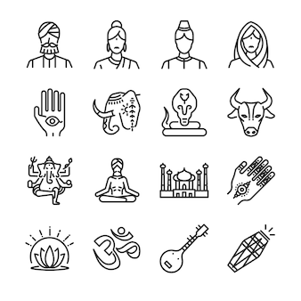 Индия набор иконок.