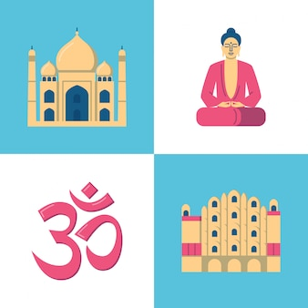 India icons set in flat style