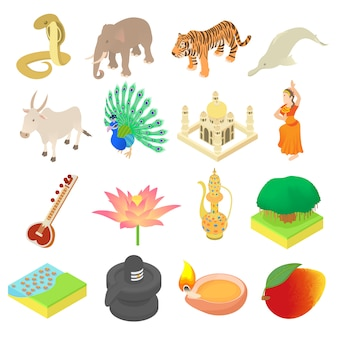 India icons set in isometric 3d style