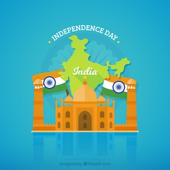 India independence background with taj mahal and flags