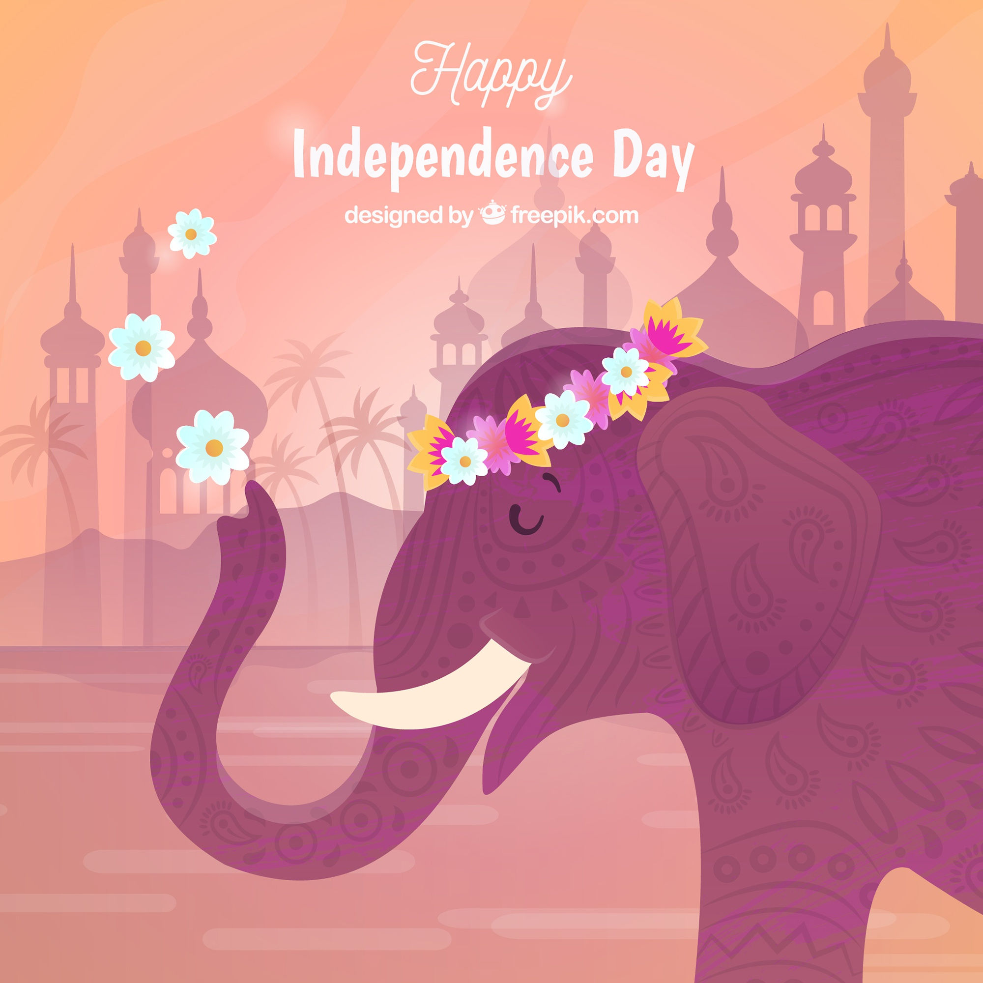 India independence day background with elephant