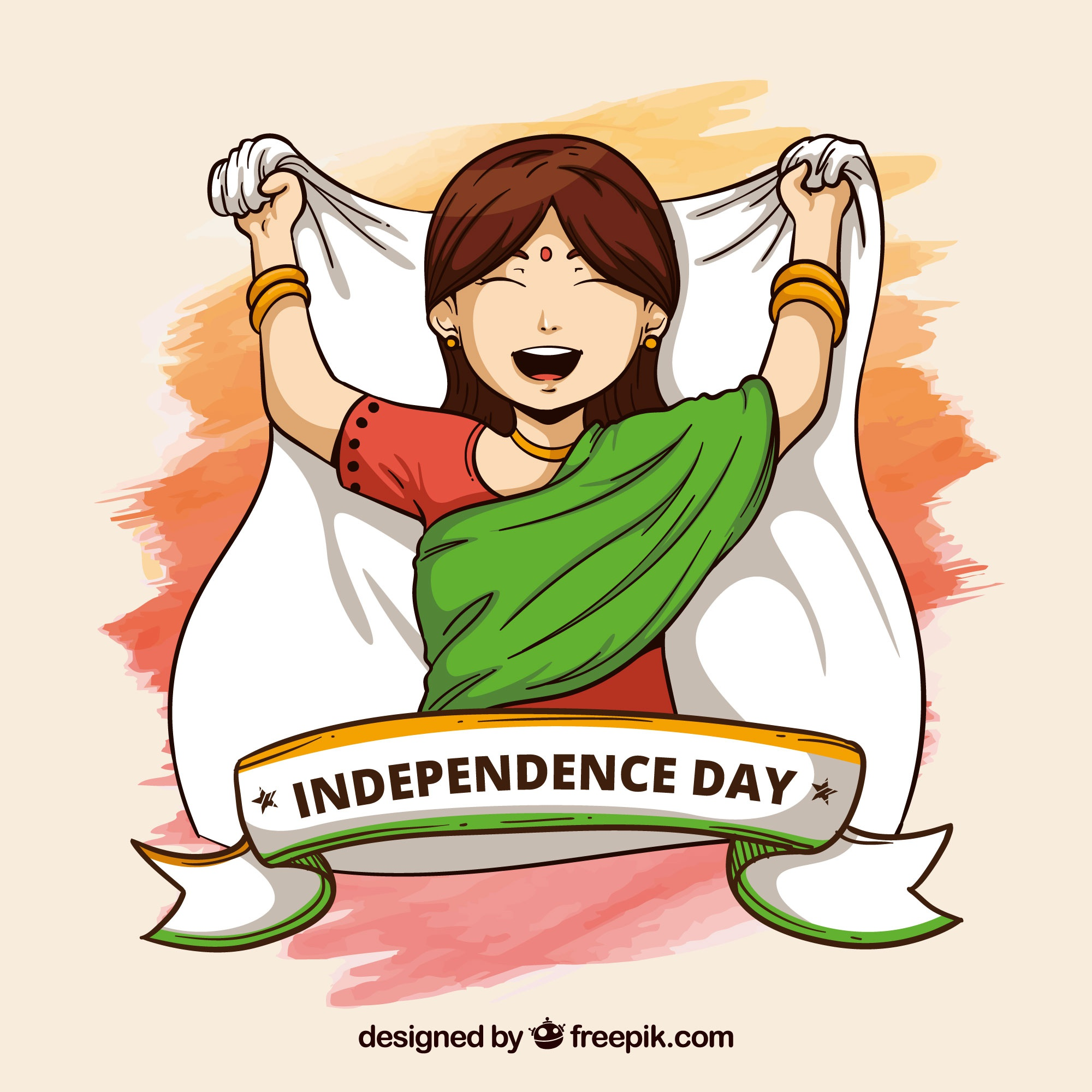 India independence day background with girl