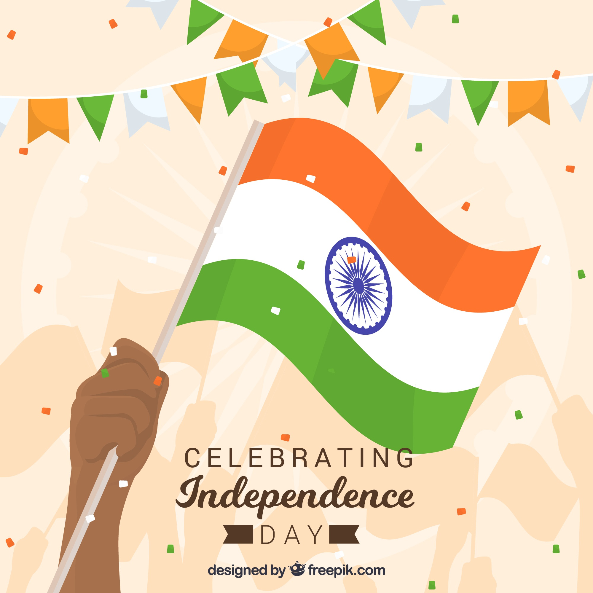 India independence day background with hand holding flag