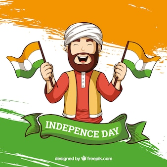 India independence day background with man