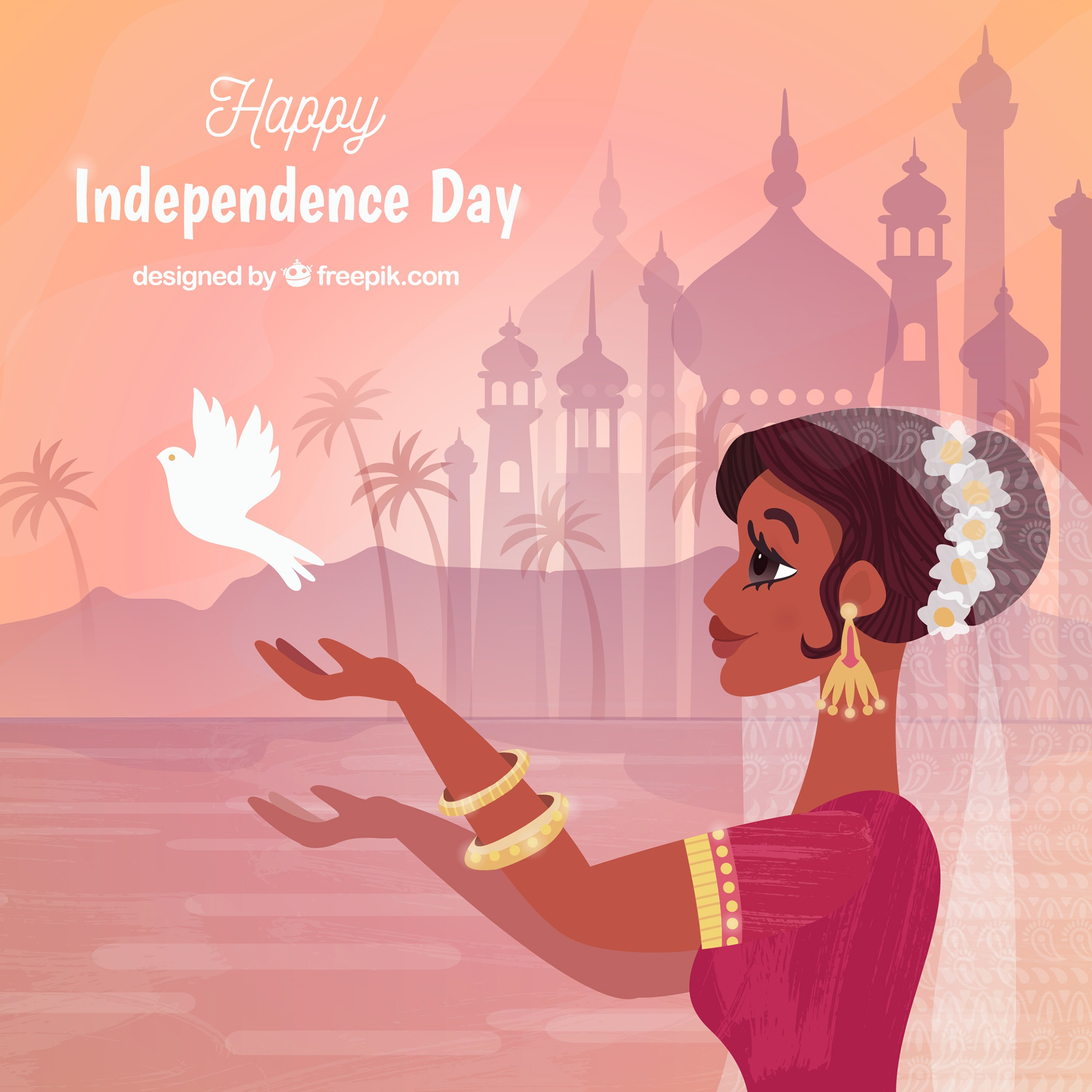 India independence day background with woman and pigeon
