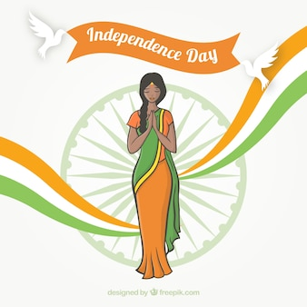 India independence day background with woman
