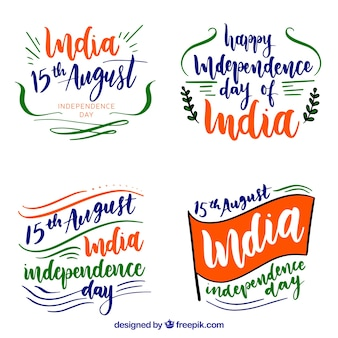 India independence day badges in watercolor style