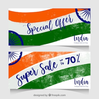India independence day banners in paint style