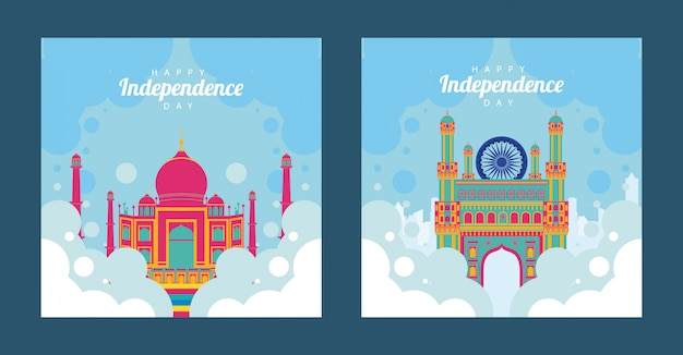India independence day celebration with taj mahal mosque in sky