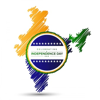 India independence day design with map and typography vector