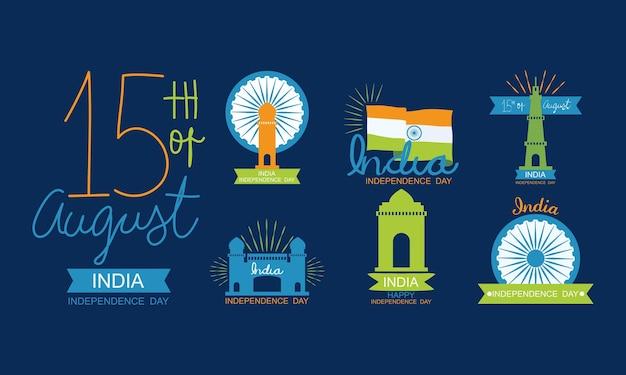インド独立記念日のアイコンセット