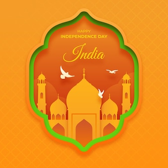 India independence day illustration in paper style