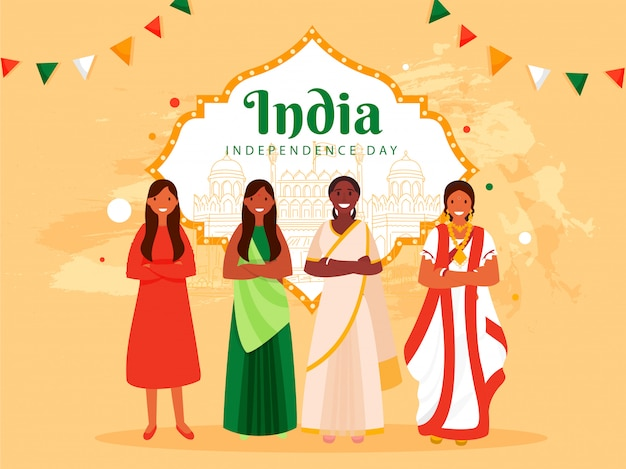 India independence day poster  with different religion female group and line art famous moniuments on pastel orange background.