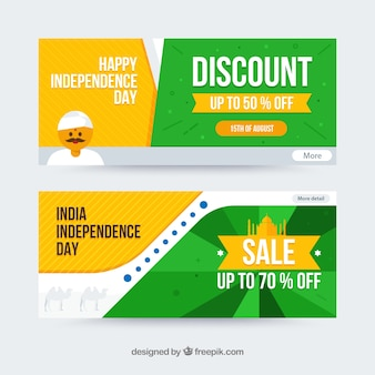 India independence day sale banners with flat design