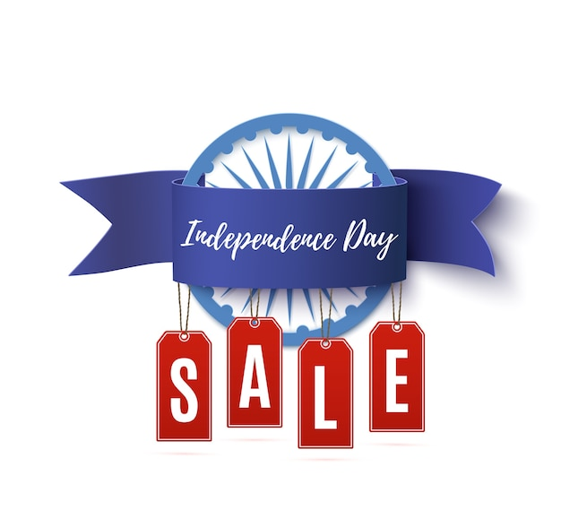 India independence day sale ribbon with price tags isolated on white background.