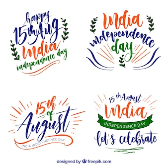 India independence day watercolor badges