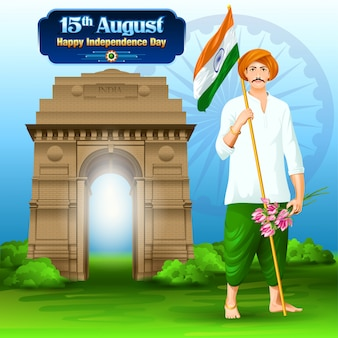 India independence day wishes with a farmer
