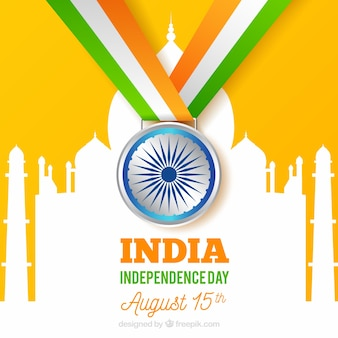 India independence day with medal and taj mahal