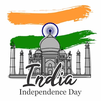 India independence day with taj mahal vector