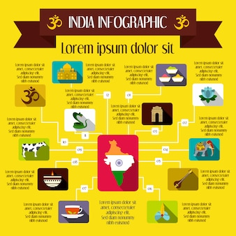 India infographic elements in flat style for any design
