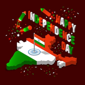 India isometric map in national flag tricolors