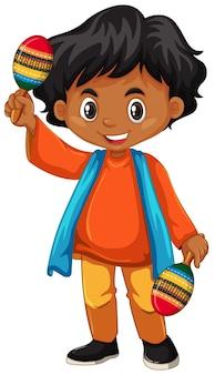 India kid tenendo maracas su sfondo bianco