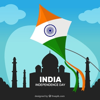 India kite with taj mahal silhouette background