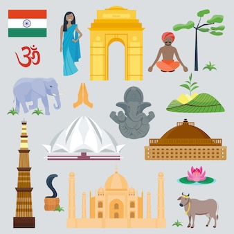 India landmark global travel and journey. traditional beautiful facade culture asia architecture symbol. detailed east building and animals.
