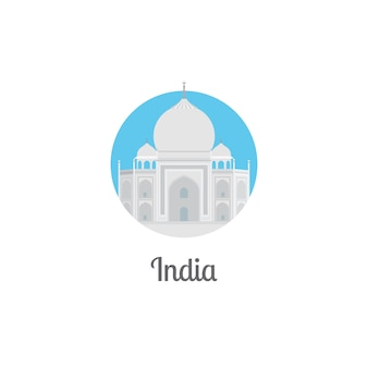 India landmark isolated round icon