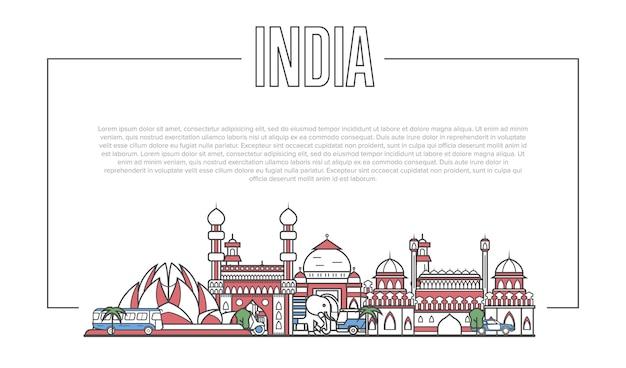 India landmark panorama in linear style