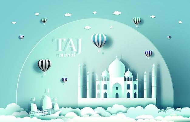 India landmarks with taj mahal