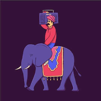 India, man with record player, elephant driver