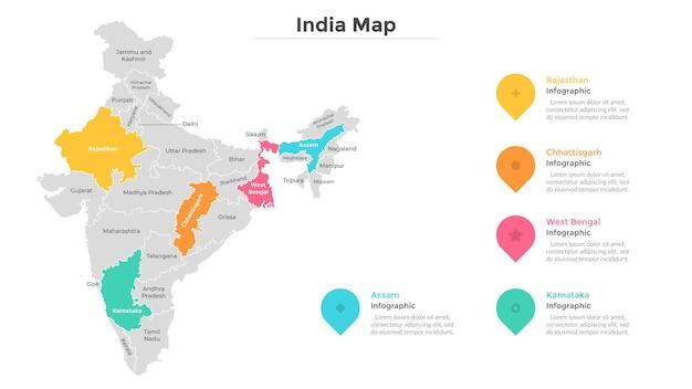 インドの地図は、現代の国境を持つ州または地域に分割されています。地理的な場所の表示。インフォグラフィックデザインテンプレート。プレゼンテーション、パンフレット、観光ウェブサイトのベクトルイラスト。