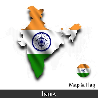 India map and flag . waving textile design . dot world map background .