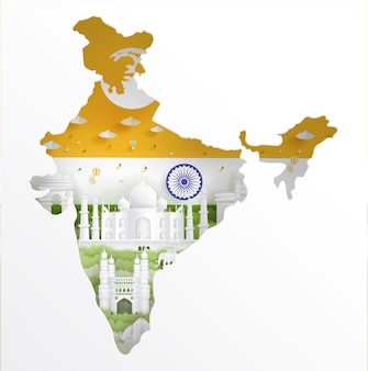India map with famous landmark and india flag