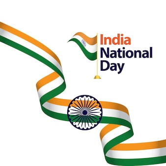 India National Day Vector Template Design Illustration