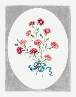 インドのピンクは、ジョン・エドワーズのアートワークからリミックスされたヴィンテージの花のアートプリントをベクトルします