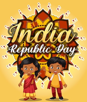 子供のキャラクターとインド共和国記念日のバナー
