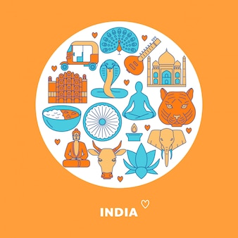 India round composition with elements in line style