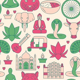 India seamless pattern in line style