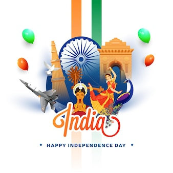 India showing their culture and heritage on white background for independence day concept.