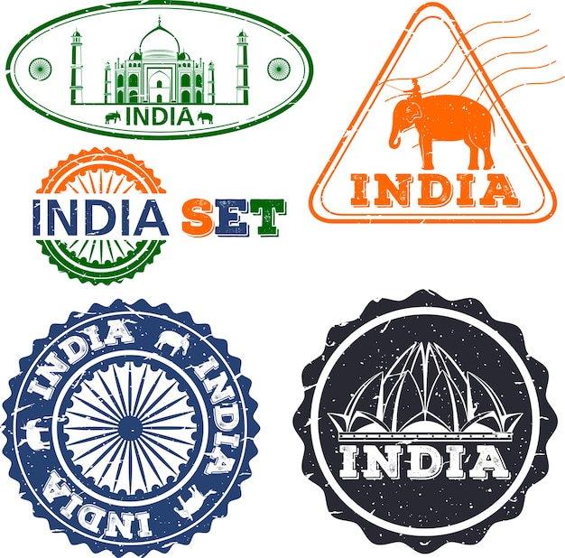 India stamps set. simple drawing. india symbols.  illustration