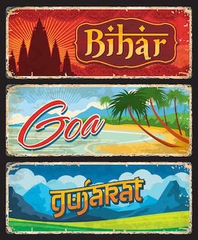 India state goa, bihar and gujarat tin metal signs