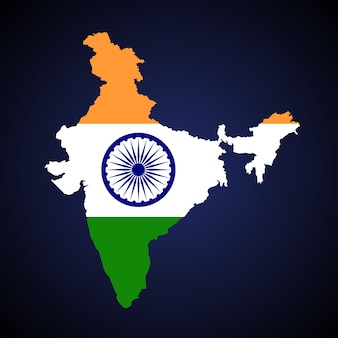 인도 영토 지도 벡터 일러스트 레이 션. 블루 그라데이션 배경 플래그 및 엠 블 럼 디자인입니다.